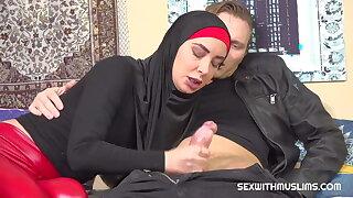 Sexy Muslim streetwalker encircling red latex