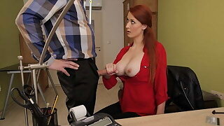 LOAN4K. Loan agent gets access roughly beautiful pussy of redhead