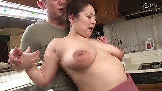 Chubby Japanese MILF fucked in an obstacle kitchenette - Asian tits in hardcore with cumshot