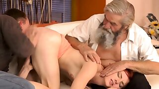 DADDY4K. Boy and his bearded prime mover team up to penalize