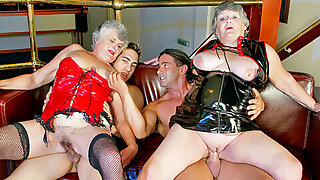 Four old grannies get drilled at the end of one's tether younger guys