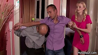 Euro blonde sucks and rides father in law