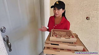 Jay Romero and Rion King wants some pizza and Ember Snow delivered it fresh and hot with an extra triune service.