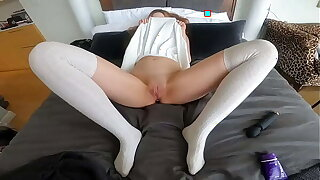 Lesbian sew on fucking will not hear of tight pussy